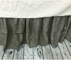 chambray grey bed skirt with double layer ruffles available in