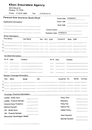 car insurance template with insurance quote sheet template and auto insurance quote form pdf and car