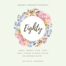 cream flower 80th birthday invitation templates by canva