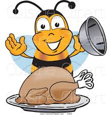 cuisine clipart of a happy hungry bee mascot character
