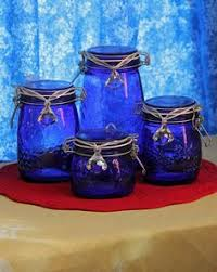 cobalt blue glass canister set of 4 nos graduated szs air tight