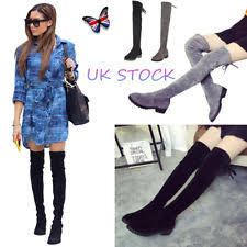 womens knee length boots uk block heel knee high boots lace up shoes for ebay