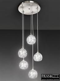 franklite tierney 5 light pendant ceiling fixture satin nickel
