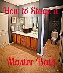 staging a master bathroom noting grace