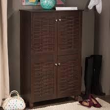 baxton studio rhodes dark brown 4 door shoe cabinet free