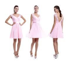 pink lace bridesmaid dress v neck v back short popular lace