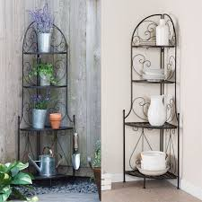 Bakers Rack Shelves Indoor Outdoor Corner Bakers Rack Folding Metal Plant Stand With