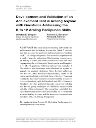 development and validation of an achievement test in araling