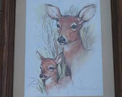 home interiors deer picture paul etsy