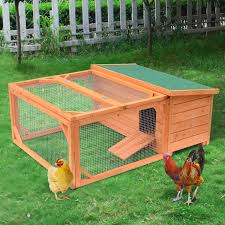aosom pawhut small wooden rabbit hutch chicken coop w run