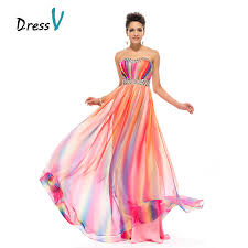 dresses for prom aliexpress buy dressv gradient rainbow print prom dress
