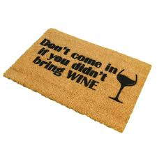 Coir Doormat Wipe Your Paws Don U0027t Come In Without Wine Ckb Ltd Novelty Coir Doormats