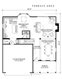 nice square house plans large open terrace two cars garage