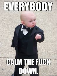 Calm The Fuck Down Meme - everybody calm the fuck down baby godfather quickmeme