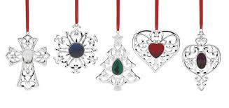 lenox 5 bejeweled silver plated ornament set