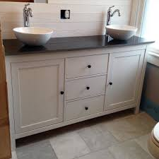 Salvaged Sink Ikea Hack This Black And White Master Vanity Features A Hemnes