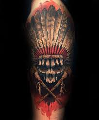 indian skull mens half sleeve ideas with