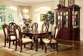 formal dining room set w dark cherry finish and carving details