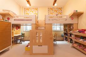Kids Bedroom Solutions Small Spaces Two Loft Beds Sharing A Central Staircase Decoist Staircases