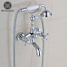 bathtub faucet set telephone style chrome dual handle bathroom bathtub faucet set