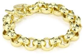 1ar by unoaerre 1ar by unoaerre 18k gold plated hammered belcher chain bracelet
