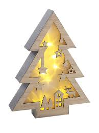 drop down christmas lights warm white wooden light up christmas decoration led village star