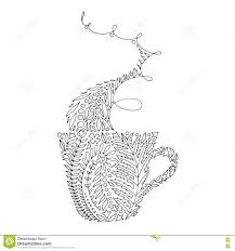 coffee tea cup tangled illustration for coloring books