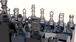 Futuristic Chess Set Chess Futuristic Glass 3d Model C4d