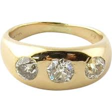 antique art deco 14k yellow gold 3 stone diamond ring 6 from