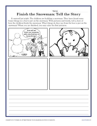 finish the snowman creative writing prompt for kindergarten