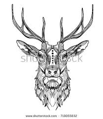 deer head stylized zentangle style tribal stock vector 311377346