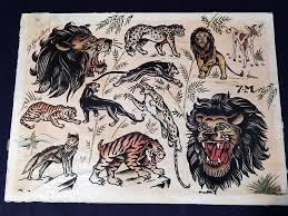 original sailor jerry flash art tattoo animals painting norman