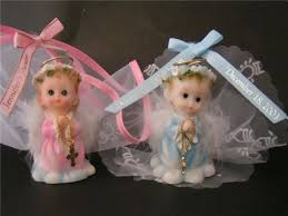 baptism figurines praying baby angel w feather holding a cross