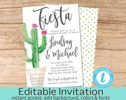 couples shower invitations cactus invitation etsy