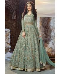 Wedding Dresses Online Shopping Buy Pine Green Colour Embroidered Wedding Dress Online Shopping