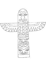 dessin à colorier d u0027un totem indien en forme d u0027aigle indiani