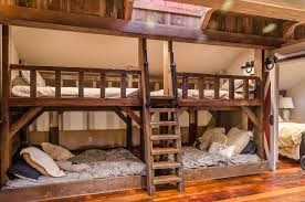 Timber Bunk Bed Bunk Bed Bedroom Farmhouse With Wood Bunk Beds