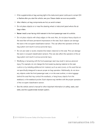 nissan versa dashboard lights not working nissan versa note 2016 2 g consumer safety air bag information guide