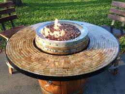 wine barrel fire table wine barrel gas fire pit and patio table by awineofakind on etsy