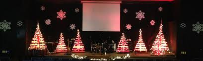 Church Stage Christmas Decorations Pallet Trees Church Stage Design Ideas