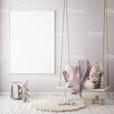 mock up poster frame in children bedroom scandinavian style