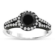 two engagement ring black diamonds engagement ring 1 41 carat vintage style two tone