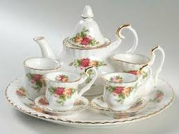 country roses tea set 9 miniature tea set in the country roses pattern by