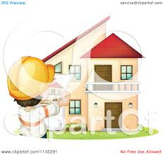 free printable blueprints cartoon of an architect holding blueprints in front of a home