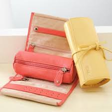 Monogramed Jewelry Leather Jewelry Roll
