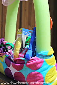 make a fun easter basket using a beach towel and pool noodle