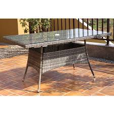 Rattan Kitchen Table by Charles Bentley Napoli Rectangular Rattan Dining Table Grey
