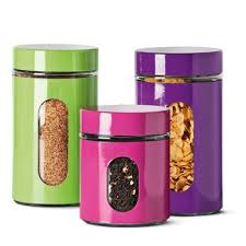 funky kitchen canisters funky storage jars with window in two sizes large 18cm 3 small