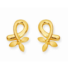 gold studs earrings leaves gold studs grt jewellers