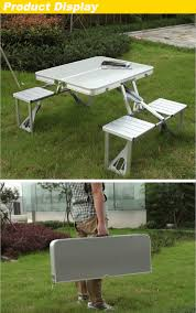 Bbq Tables Outdoor Furniture by Outdoor Aluminum Folding Table Set Foldable Desk 4 Chairs For
